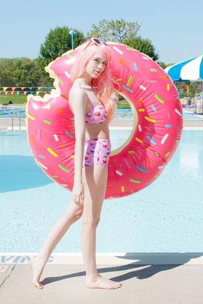 pink cupcake bikini Pretty Attitude swimwear - bubble gum heart asos sunglasses