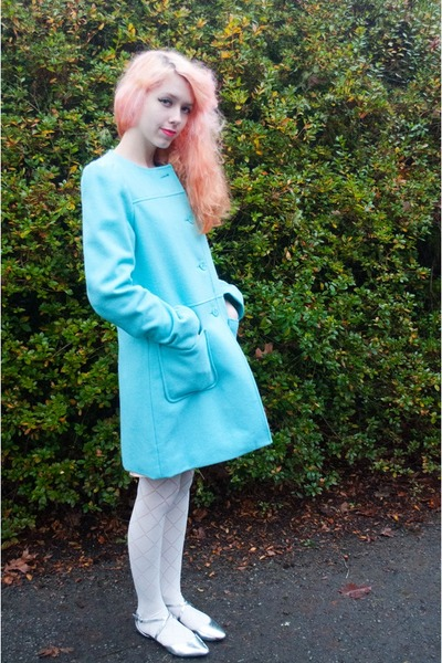 light blue Target coat - white Forever 21 tights - silver asos flats