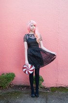 red peppermint Luna on the Moon bag - black sheer Dear Creatures dress