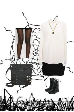 beige The Row blouse - black Forever 21 skirt - black Roc boots - black Jimmy Ch