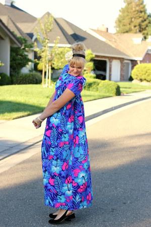 violet muumuu vintage dress
