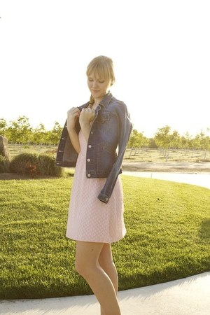 light pink modcloth dress - denim Levis jacket