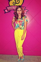 yellow jhajing blouse - yellow forever pants