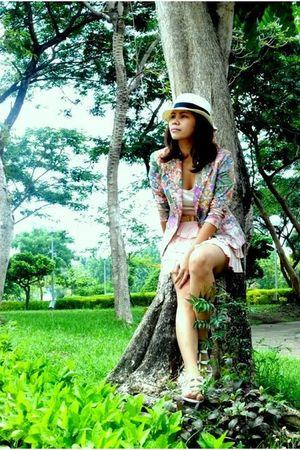 pink fasyonablemultiplycom blazer - beige H&M blouse - pink Zara skirt - white B