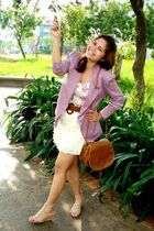 purple fasyonablemultiplycom blazer - pink NY dress - brown Zara belt - beige ra