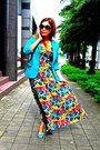Turquoise-blue-esprit-dress-teal-h-m-blazer