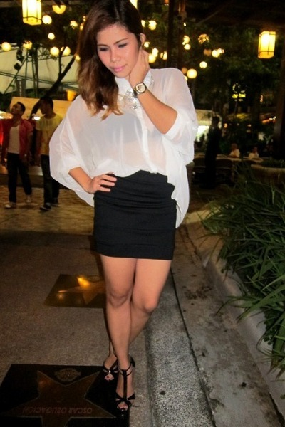 black prp skirt - black prp shoes - white sheer The Ramp blouse