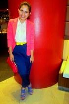coral blazer - pink Greenhills blouse - blue vintage pants