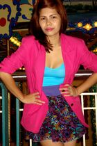 pink blazer - blue Mango blouse - blue H&M skirt