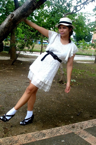 white dress - brown department store belt - brown H&M shoes