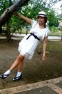 White-dress-brown-department-store-belt-brown-h-m-shoes
