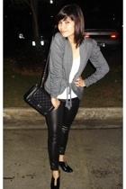 Terranova shirt - Bazaar blazer - thrifted jeans - Chanel lambskin 255 purse - a