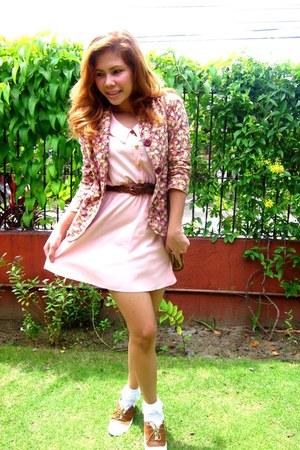 pink fasyonablemultiplycom blazer - brown Bayo shoes - bubble gum Bazaar dress
