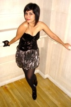 patent corset top - worn as a skirt dress - Charles and Keith boots