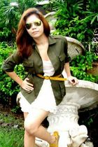 green blazer - white H&M blouse - white skirt - green Ray Ban glasses