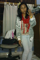 scarf - jacket - jeans - t-shirt