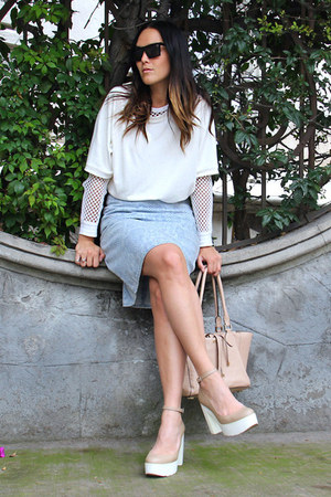 Forever 21 sweater - Studio F bag - Super sunglasses - PERUGIA heels - H&M skirt