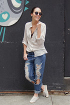c&a shoes - Forever 21 jeans - Topshop shirt - Ray Ban sunglasses