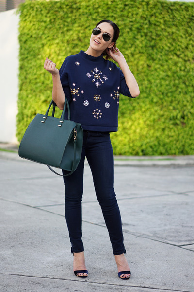 H&M sweater - Levis jeans - H&M bag - Ray Ban sunglasses - c&a heels