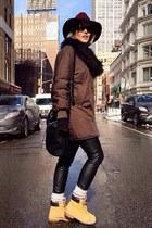 H&M scarf - Timberland boots - Forever 21 hat - Zara jacket - Forever 21 bag