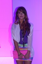 amethyst bodycon Roxy skirt - white supre cape - silver diva earrings