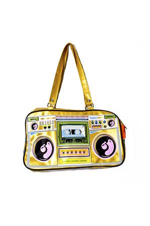 gold gold pu Technics bag