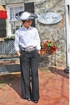 black hat - black pants - white blouse - black shoes