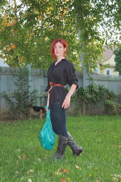 Target earrings - husbands shirt - Target purse - thrifted belt - jeans - boots