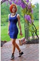 blue Target dress - black sandals vintage shoes - beige cigarbox purse