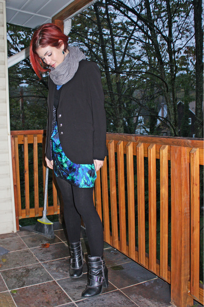 scarf - blazer - sweater - Thakoon for Target skirt - tights - payless boots