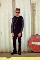 Rick Owens jacket - nike sneakers - Alexander Wang t-shirt - Burberry pants