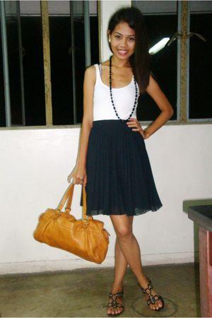black thrifted skirt - white top - bag