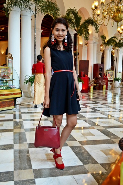 red kate spade bag - black Folded and Hung dress - red High Style Fancy wedges