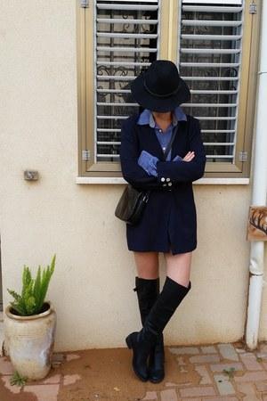 navy chiffon vintage blazer