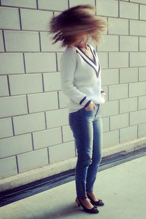 white deep v Topshop sweater - low Anne Klein heels