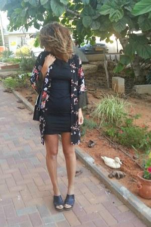 black Zara dress - kimono Forever 21 cardigan