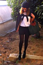 black Forever 21 shorts - bow print Zara shirt