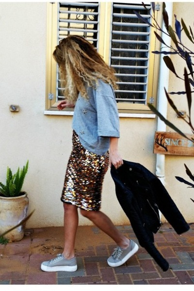 leather H&M jacket - sequins H&M skirt - sports H&M top