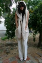 ivory wool vintage pants - ivory fleece Ebay vest