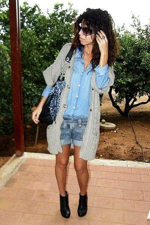 Mango cardigan - pull&bear shirt - H&M boots