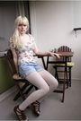 Blue-zara-shorts-white-zara-t-shirt-white-american-apparel-tights-brown-sh