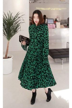 black MIAMASVIN boots - green MIAMASVIN dress