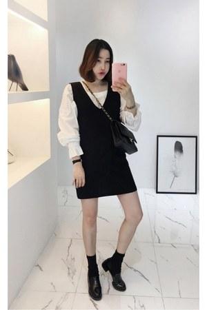 black MIAMASVIN shoes - black MIAMASVIN dress - white MIAMASVIN blouse