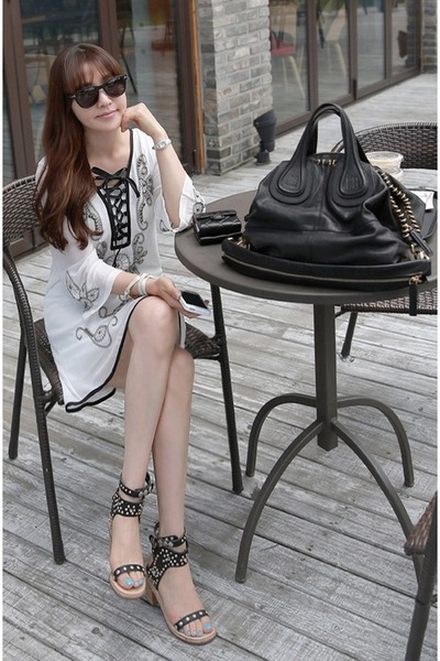 white MIAMASVIN dress - black Chanel bag - beige MIAMASVIN sandals