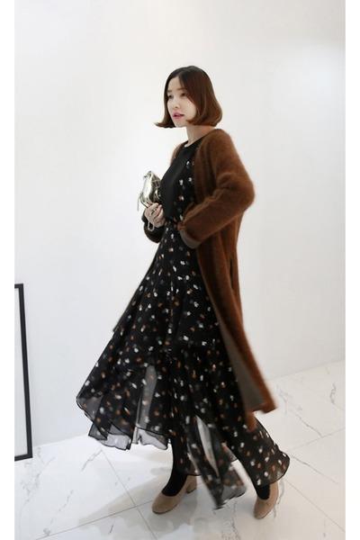 black MIAMASVIN dress - brown MIAMASVIN cardigan