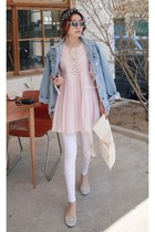 sky blue MIAMASVIN jacket - white MIAMASVIN leggings - light pink MIAMASVIN top