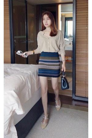 beige MIAMASVIN top - teal MIAMASVIN skirt - MIAMASVIN flats