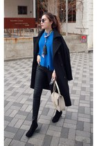 blue MIAMASVIN sweater - black MIAMASVIN coat - MIAMASVIN jeans