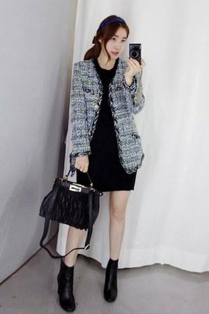 heather gray MIAMASVIN jacket - MIAMASVIN boots - black MIAMASVIN dress