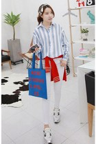 light blue MIAMASVIN shirt - MIAMASVIN scarf - blue MIAMASVIN bag